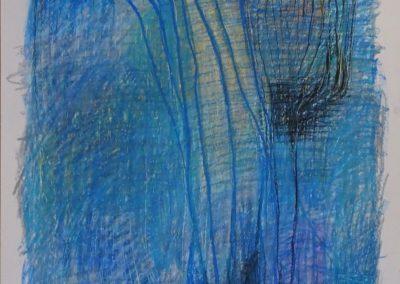 Elke Czudai: Blau, 50x70, Wachskreide