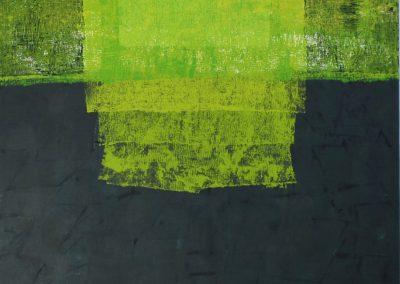 Elke Czudai: Netzwerk Grün, 70x100 , Textildruck und Spechtel