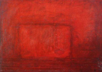 Ingrid Müller: tutti paletti (2013), Mischtechnik auf Leinwand, 50x70