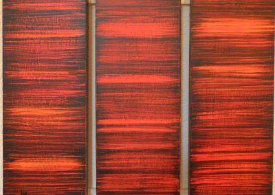 Ingrid Müller: trio (2006), Mischtechnik auf Holz, je 40x15