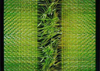 Carola Weber-Schlak: Hoffnung - Grün verflochten (2020), Acryl auf Karton und Packband, 40x40
