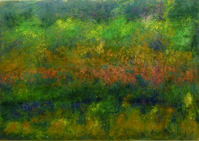 Elke Czudai: Grün, Folie und Pigmente, 100x70