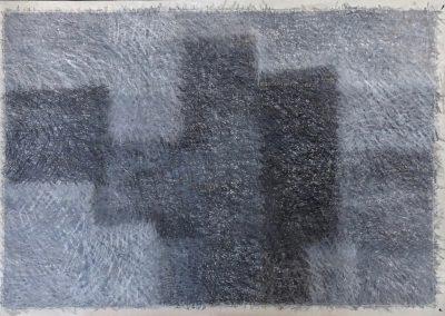 Elke Czudai: Stadt im Nebel, Wachskreide, 100x70